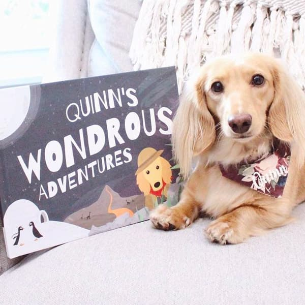 Quinn sat next to a Personalised Wondrous Adventures book