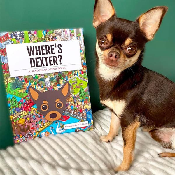 Dexter posing with his Personalised Dog Book
