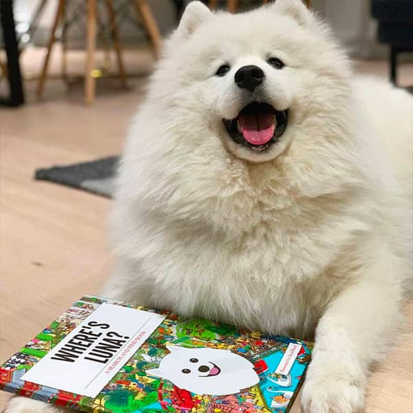 Luna proudly sat with her Personalised Where's Book