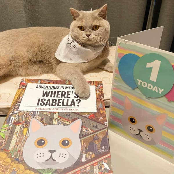 Isabella with her Personalised Where's Book