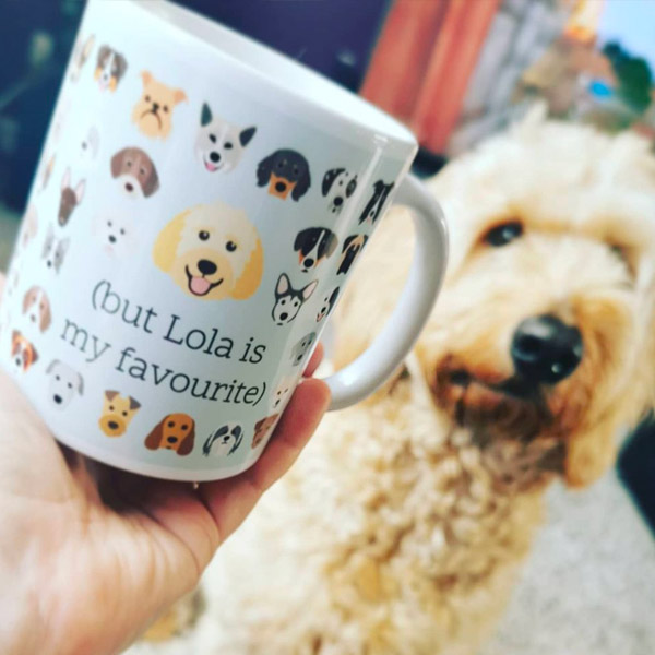 Personalised mug featuring Lola the Doodle