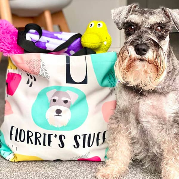 Florrie with her packed Personalised Bag