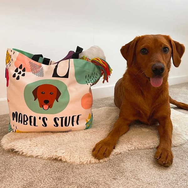 Mabel with her Personalised Stuff Bag