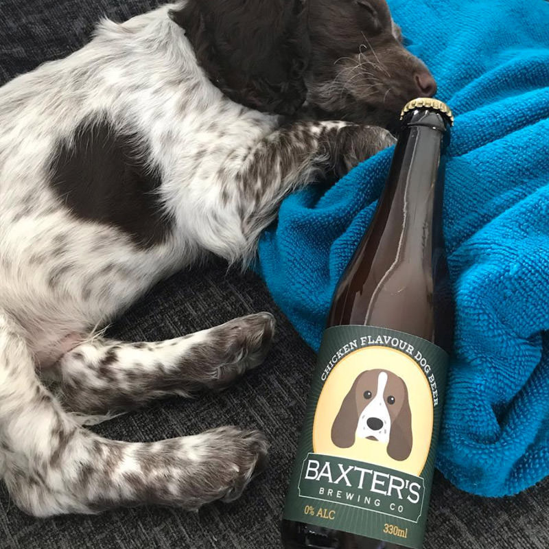 Baxter with his Personalised Beer