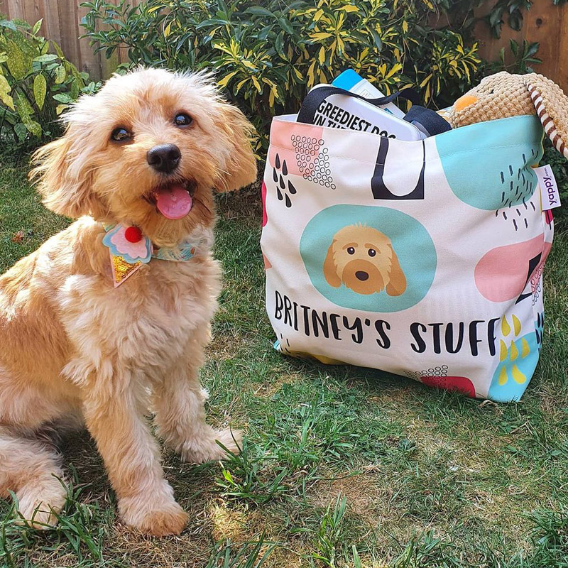 Britney with her Personalised Dog Stuff Bag