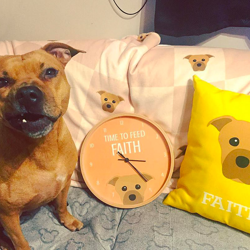Faith with her Time to Feed Clock, Personalised Icon Cushion and Icon Blanket