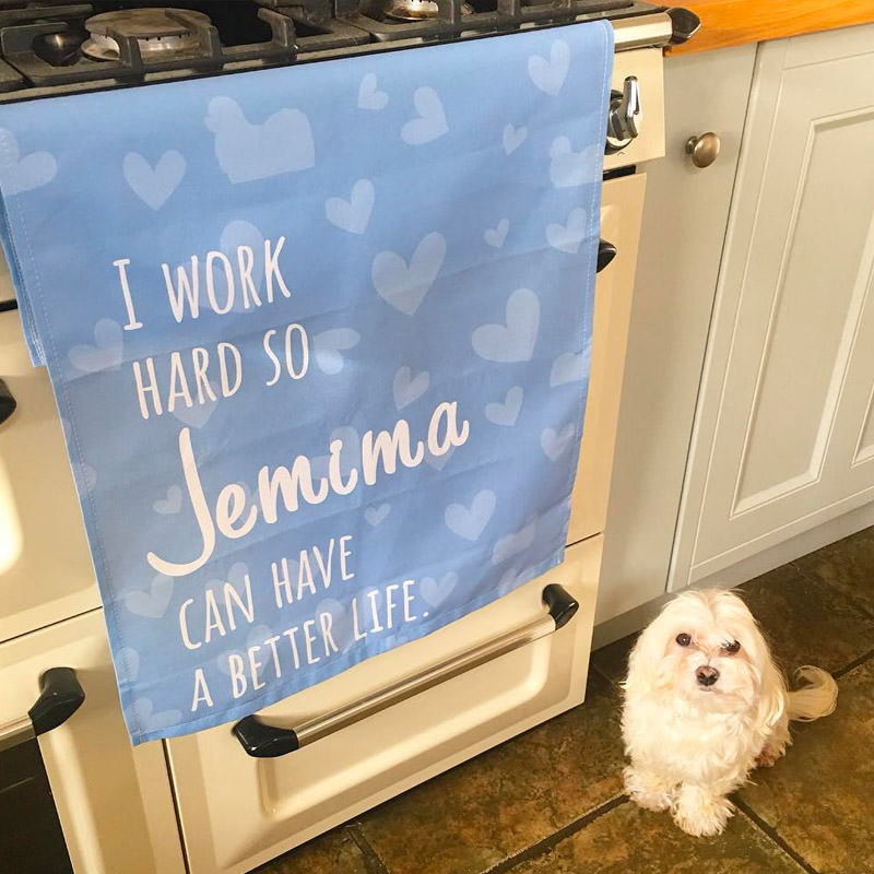 Jemima with her I Work Hard Tea Towel