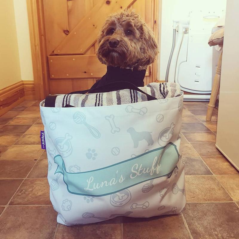 Luna inside her Personalised Overnight Bag