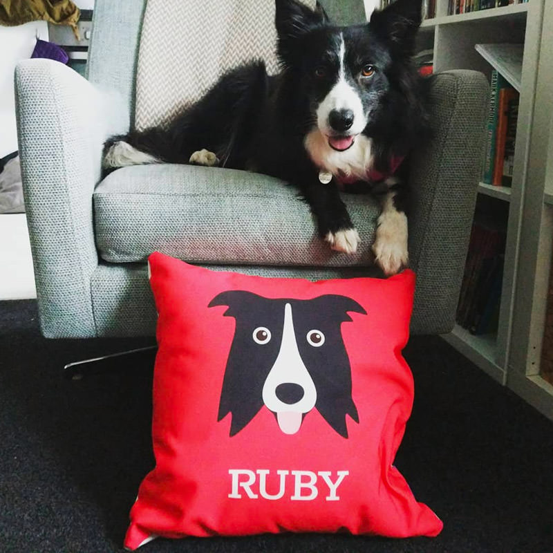 Ruby with her Personalized Icon Cushion