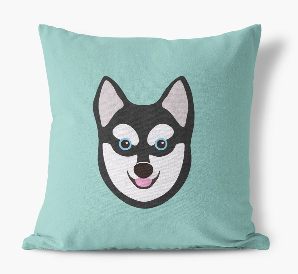 {colour} Alaskan Klee Kai Icon Canvas Cushion front view