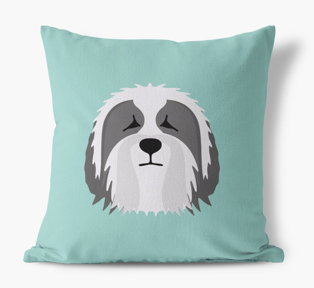 {colour} Bearded Collie Icon Canvas Cushion front view