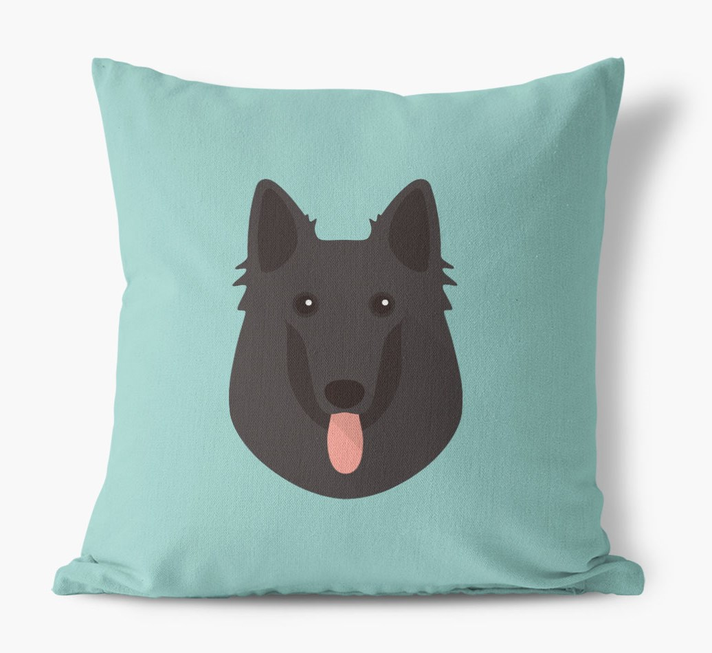 {colour} Belgian Groenendael Icon Canvas Cushion front view