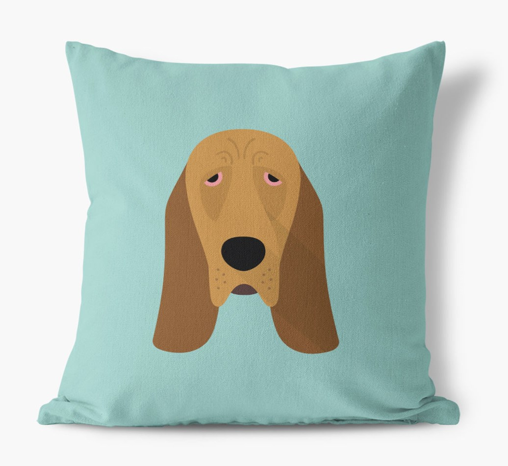 {colour} Bloodhound Icon Canvas Cushion front view
