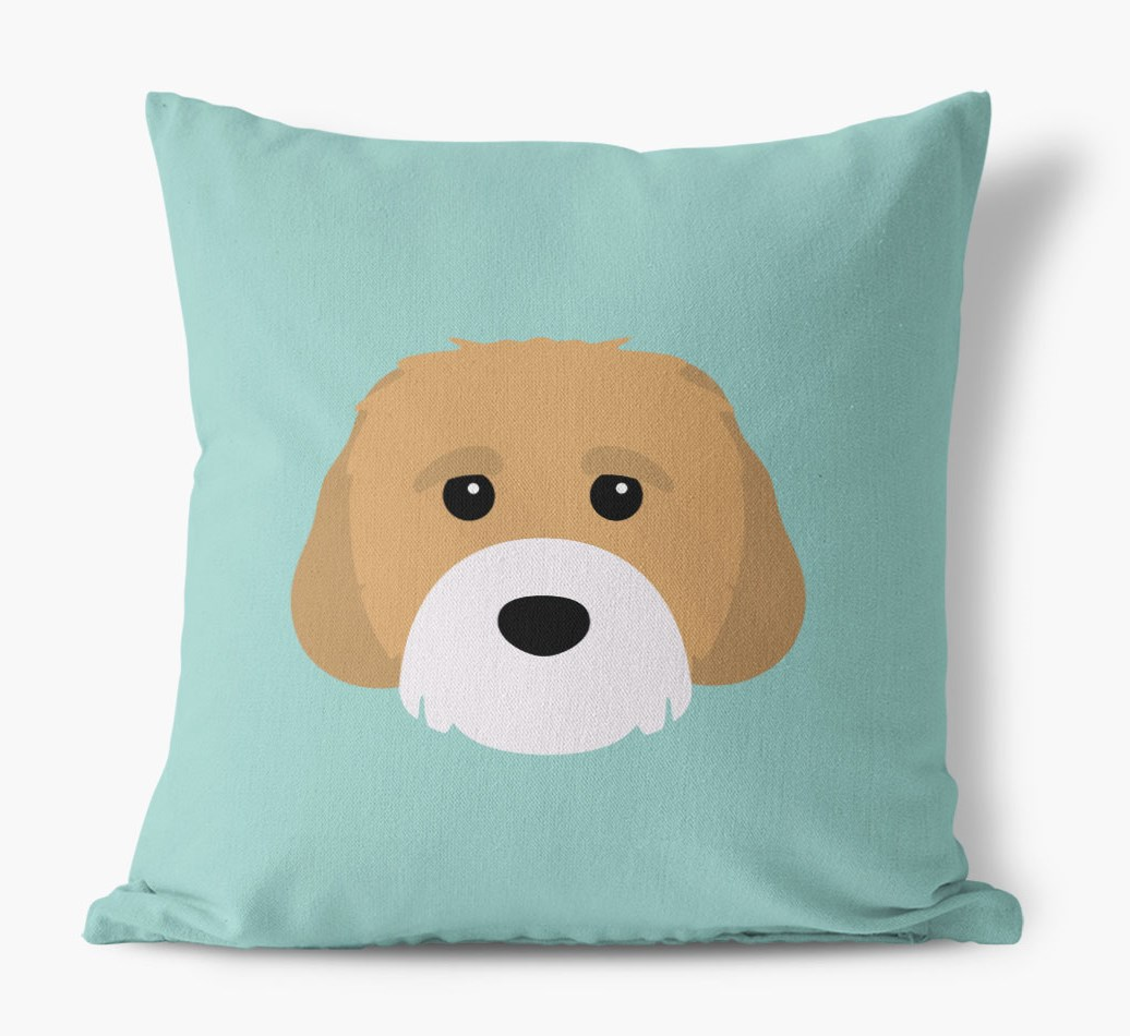 {colour} Cavachon Icon Canvas Cushion front view