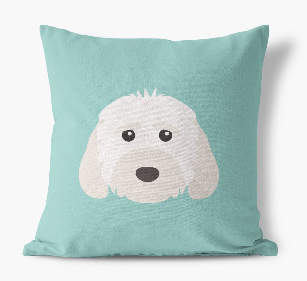 {colour} Cockapoo Icon Canvas Cushion front view