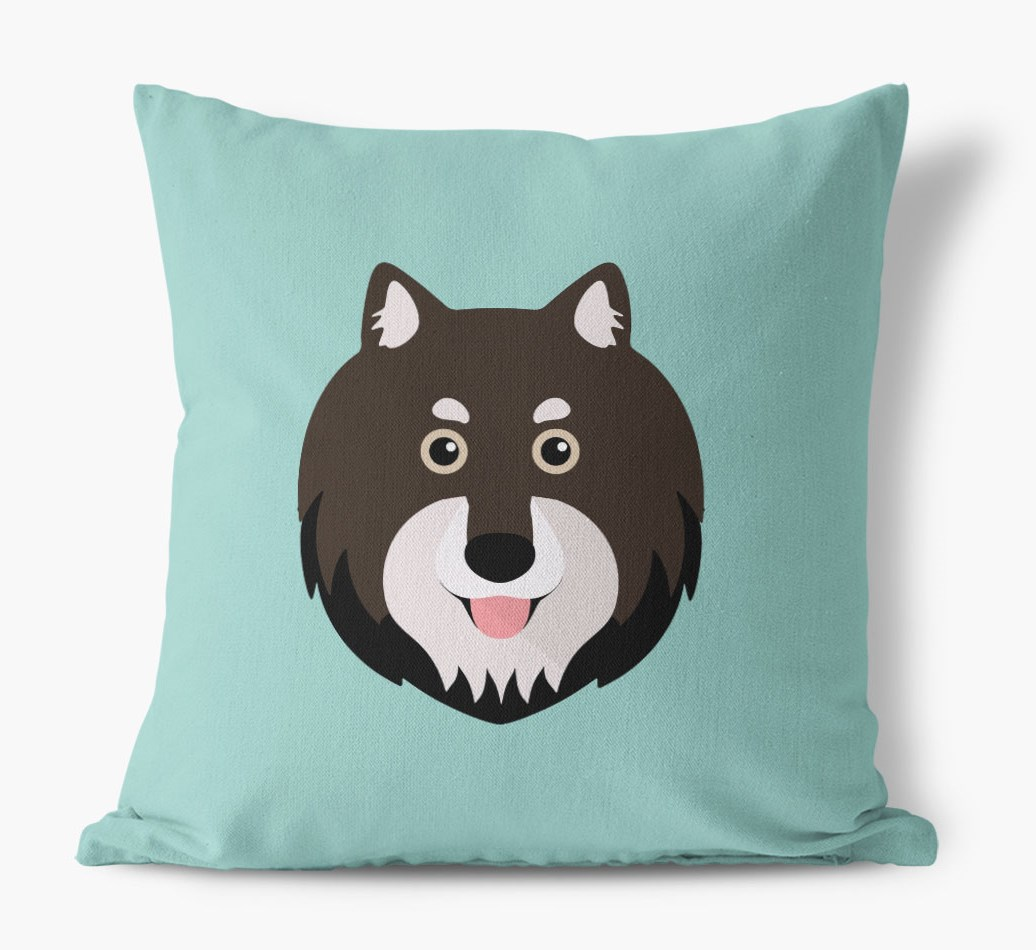 {colour} Finnish Lapphund Icon Canvas Cushion front view