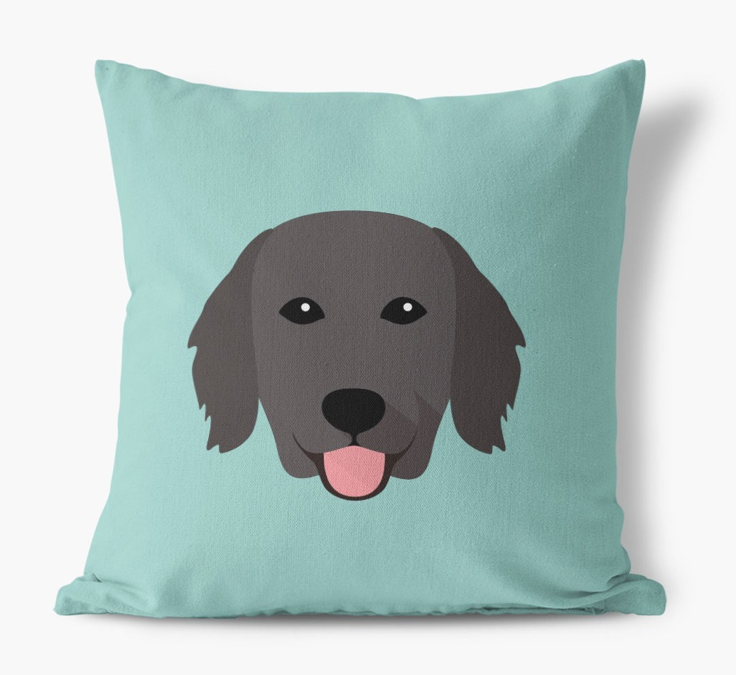 {colour} Flat-Coated Retriever Icon Canvas Cushion front view