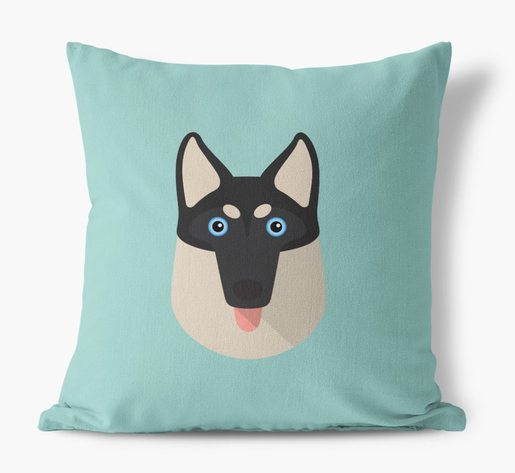 {colour} Gerberian Shepsky Icon Canvas Cushion front view
