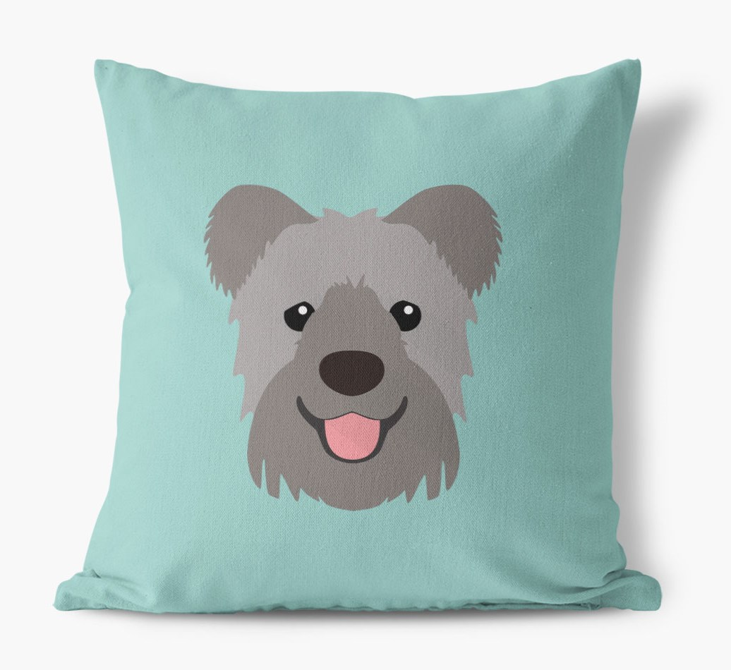 {colour} Hungarian Pumi Icon Canvas Cushion front view
