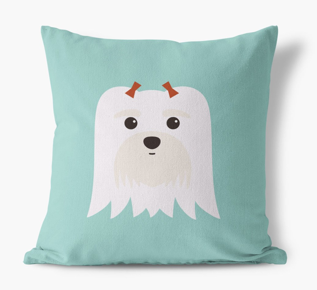 {colour} Maltese Icon Canvas Cushion front view
