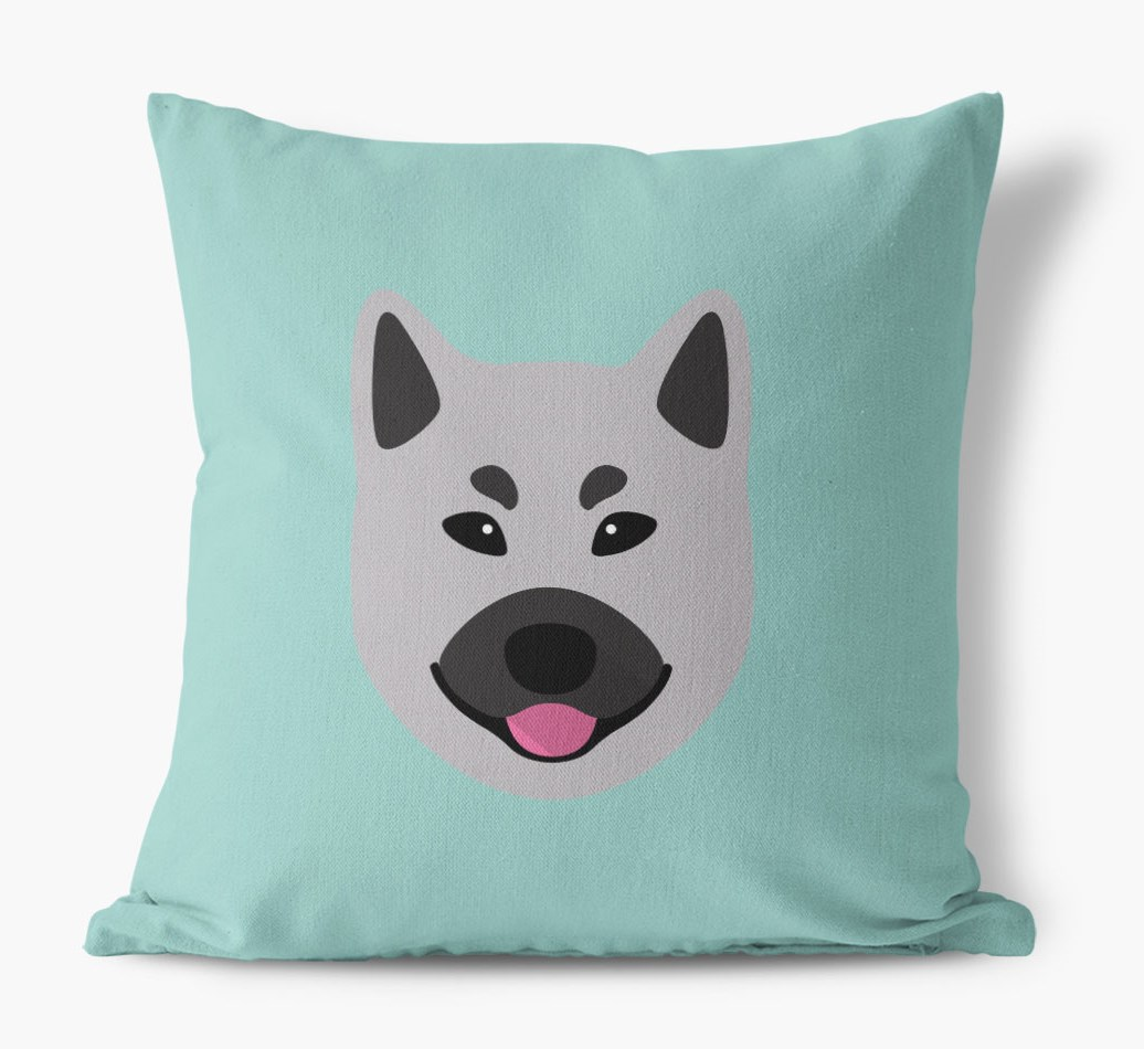 {colour} Norwegian Elkhound Icon Canvas Cushion front view