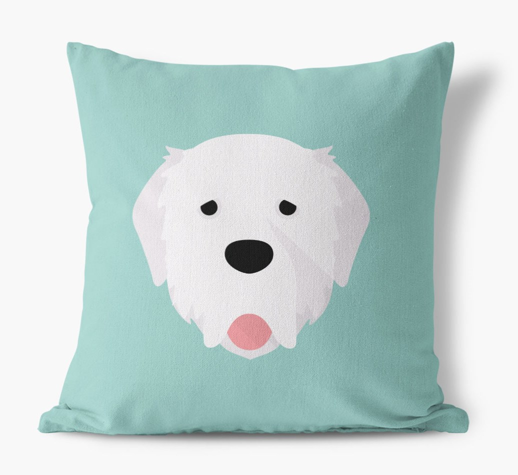 {colour} Pyrenean Mastiff Icon Canvas Cushion front view
