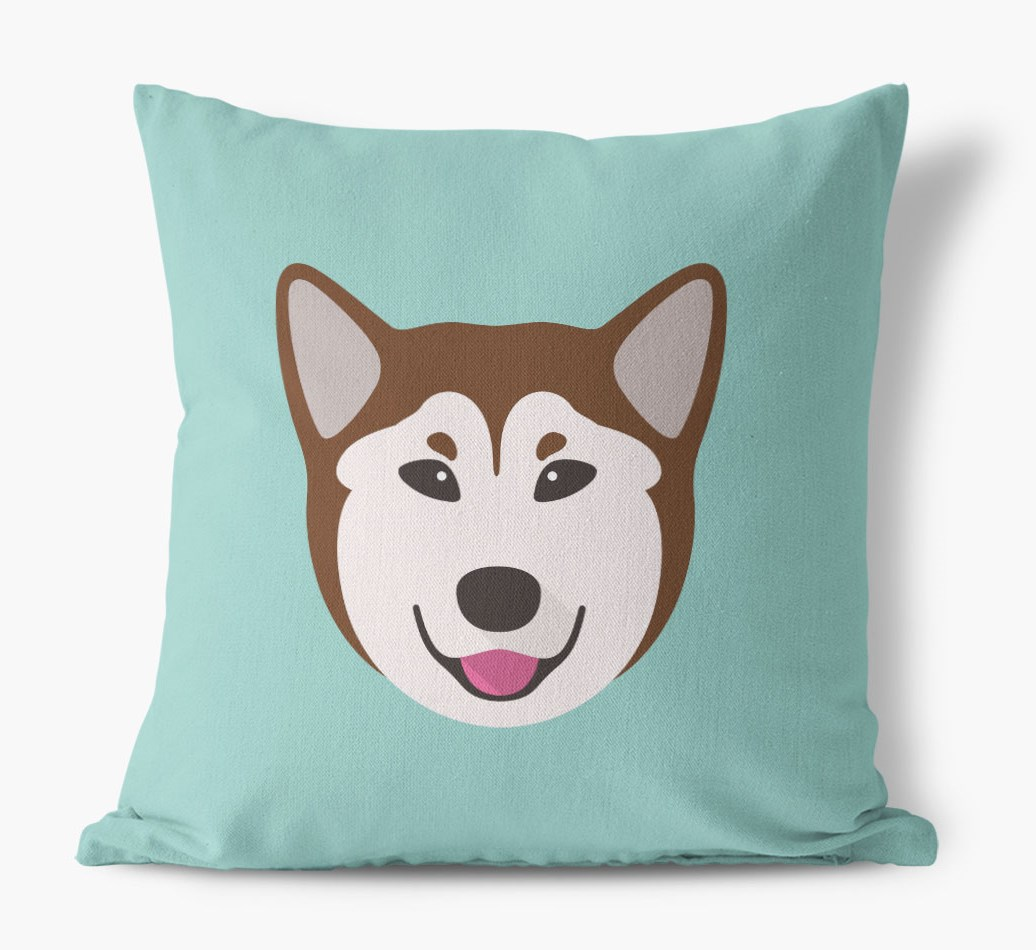 {colour} Rescue Dog Icon Canvas Cushion front view