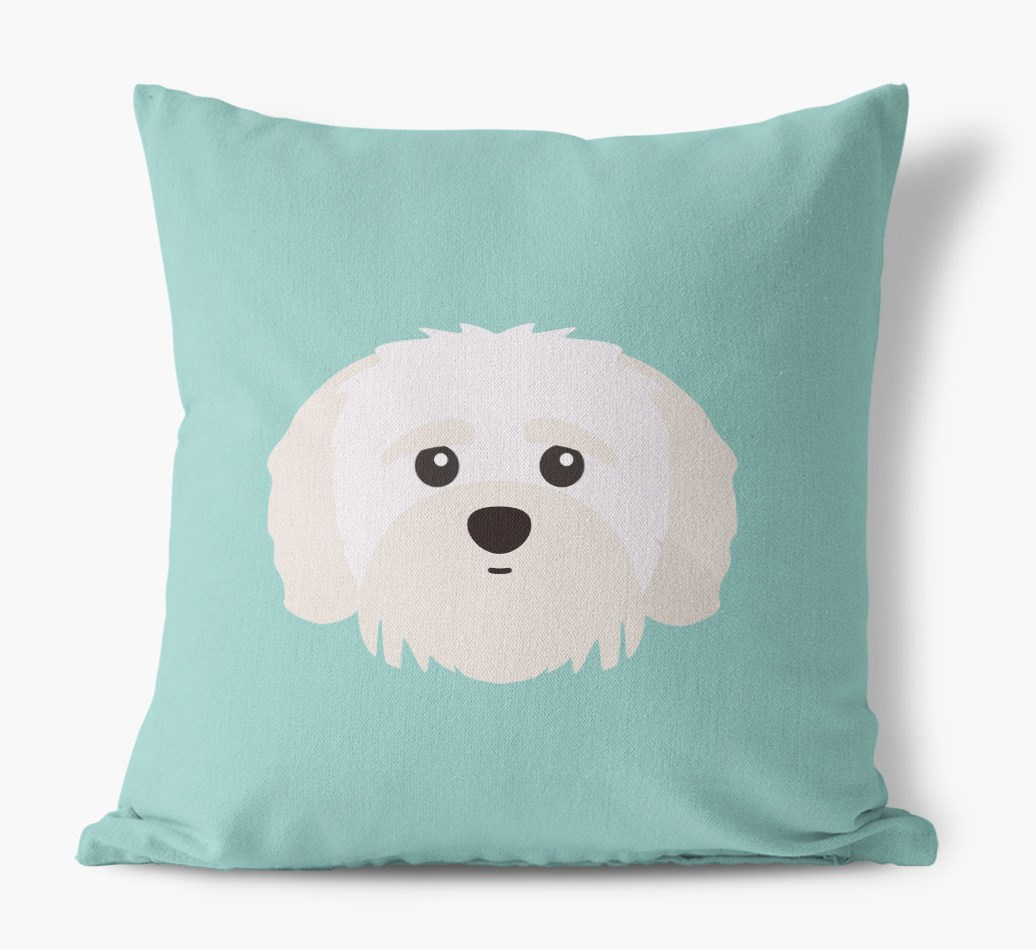 {colour} Shih-poo Icon Canvas Cushion front view