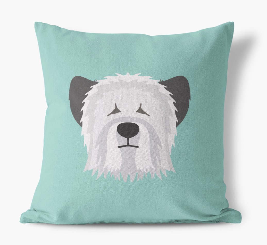 {colour} Skye Terrier Icon Canvas Cushion front view