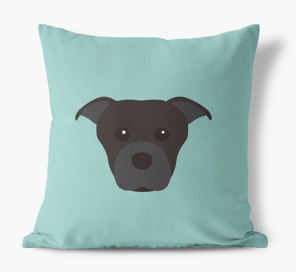 {colour} Staffordshire Bull Terrier Icon Canvas Cushion front view