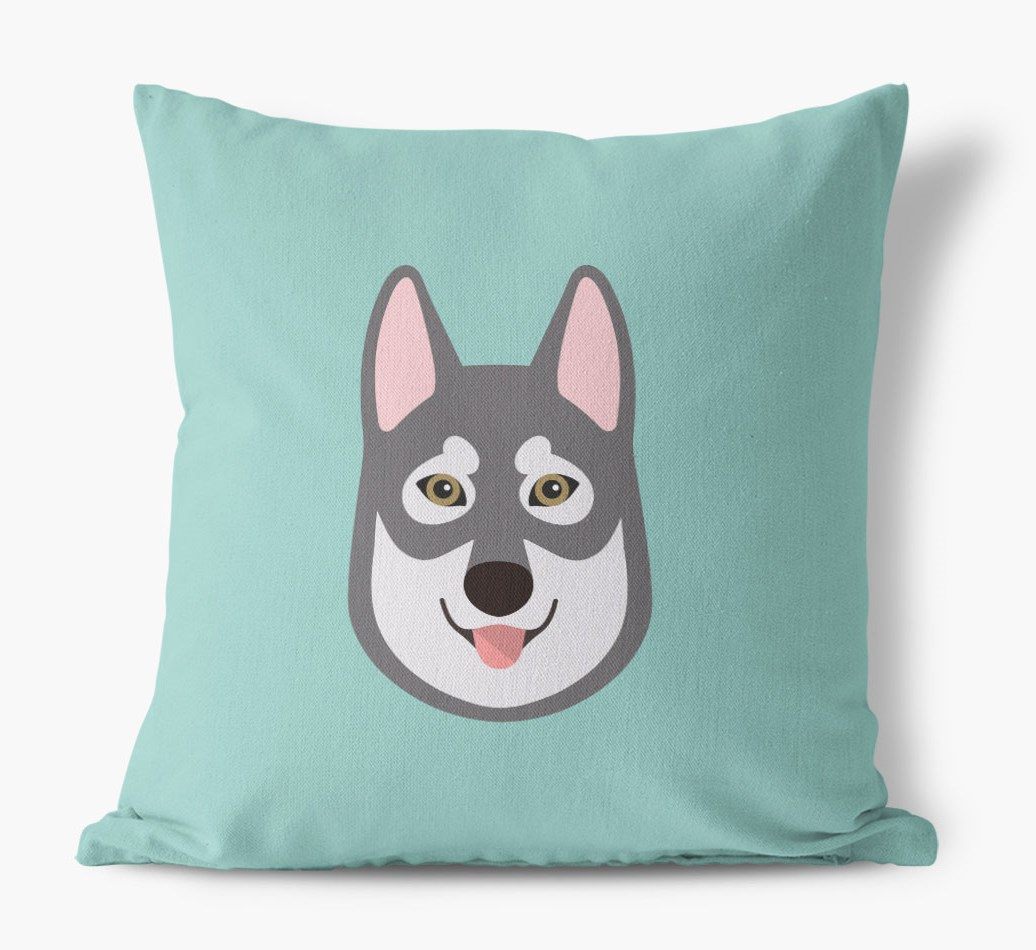 {colour} Tamaskan Icon Canvas Cushion front view