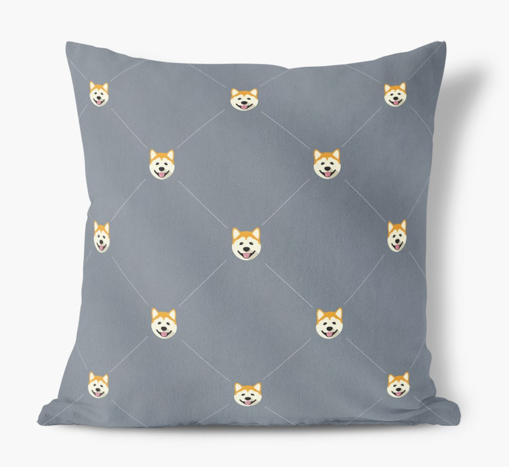 Akita {colour} Icon Pattern Faux Suede Cushion front view