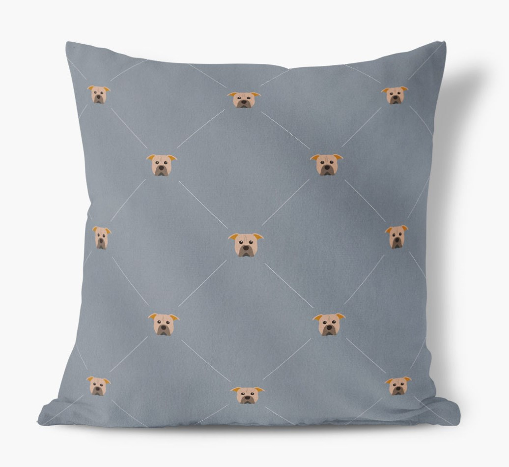American Pit Bull Terrier {colour} Icon Pattern Faux Suede Cushion front view