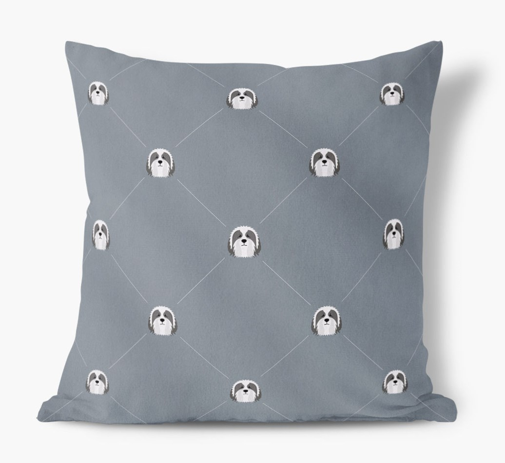 Bearded Collie {colour} Icon Pattern Faux Suede Cushion front view