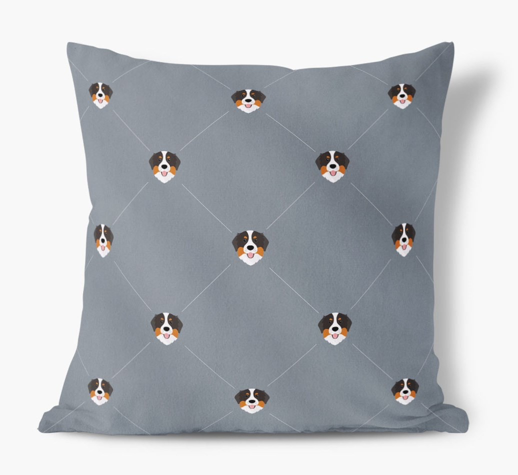Bernese Mountain Dog {colour} Icon Pattern Faux Suede Cushion front view