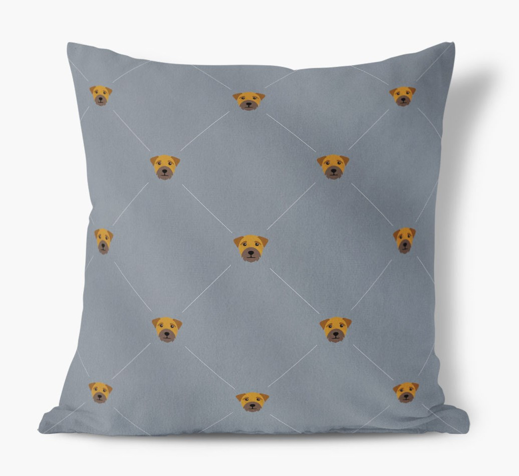 Border Terrier {colour} Icon Pattern Faux Suede Cushion front view