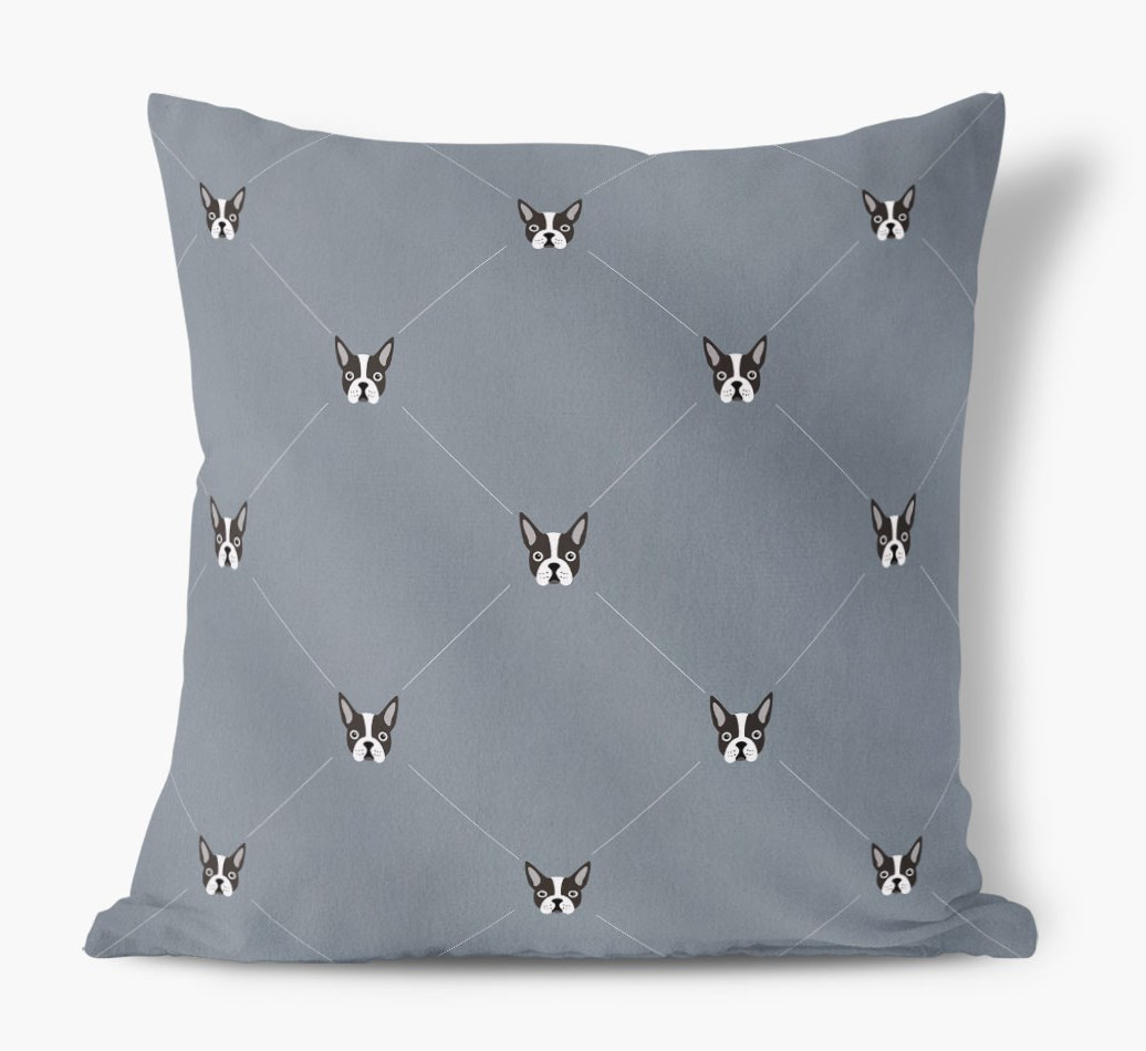 Boston Terrier {colour} Icon Pattern Faux Suede Cushion front view