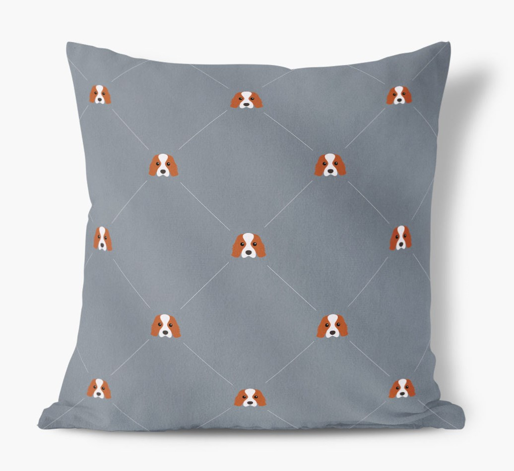 Cavalier King Charles Spaniel {colour} Icon Pattern Faux Suede Cushion front view