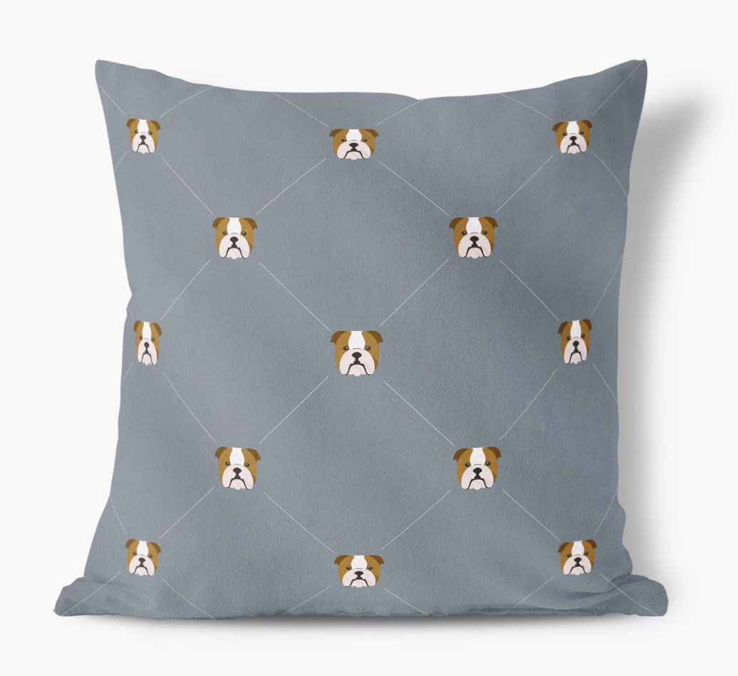 English Bulldog {colour} Icon Pattern Faux Suede Cushion front view