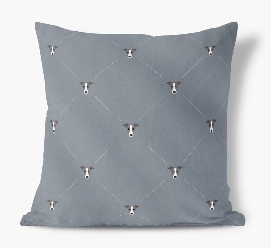 Greyhound {colour} Icon Pattern Faux Suede Cushion front view