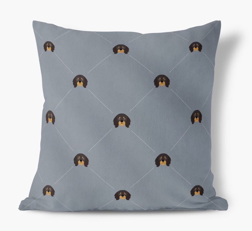 King Charles Spaniel {colour} Icon Pattern Faux Suede Cushion front view