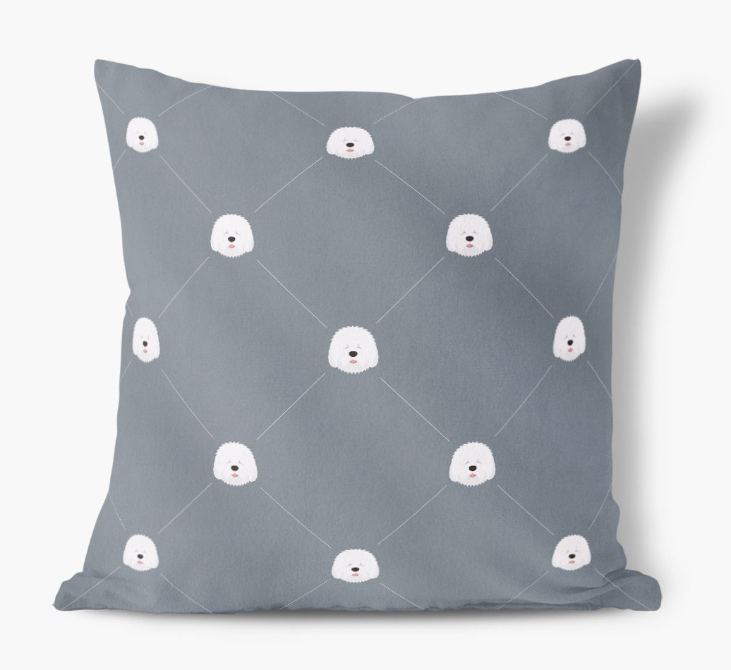Old English Sheepdog {colour} Icon Pattern Faux Suede Cushion front view