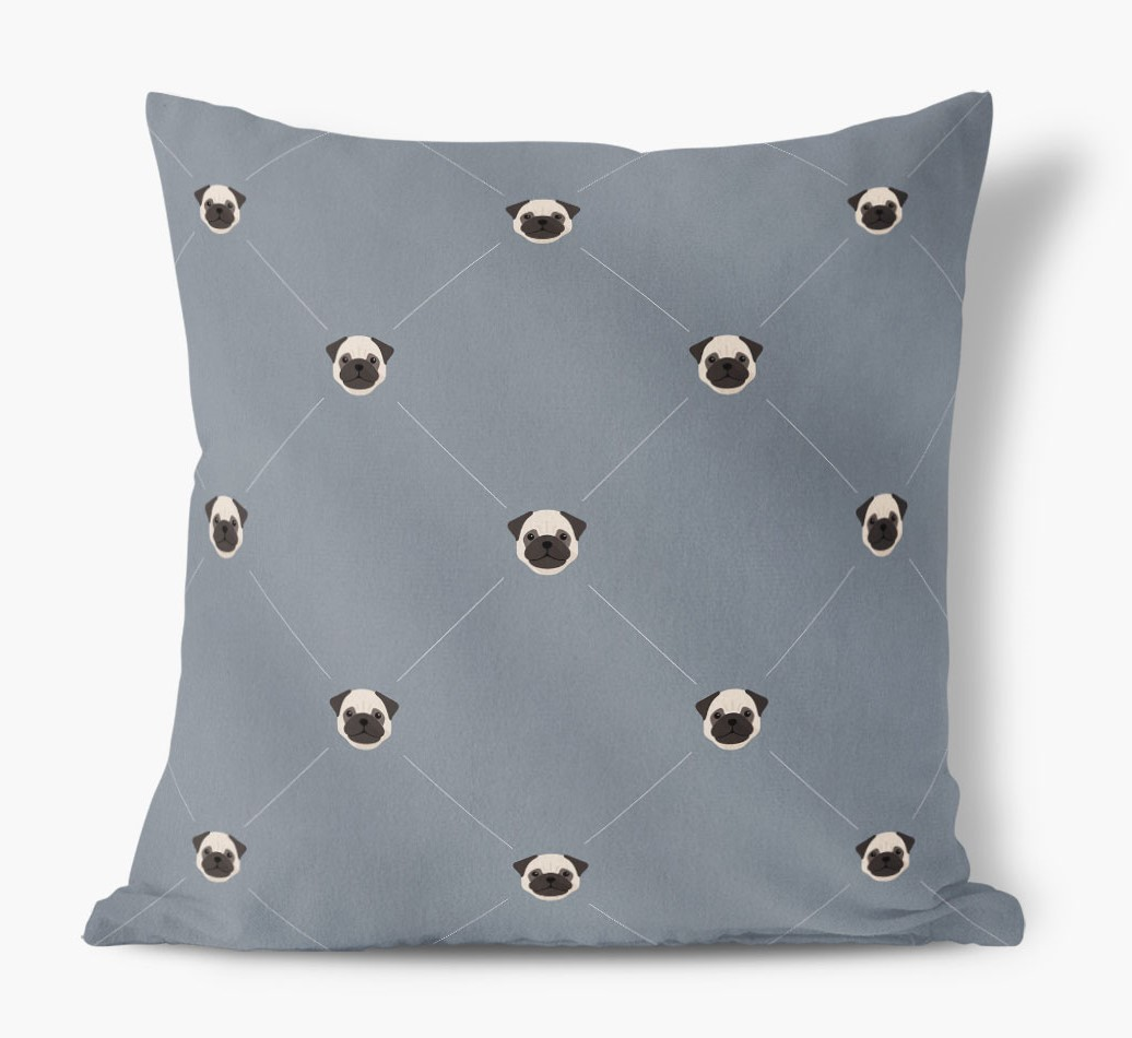 Pug {colour} Icon Pattern Faux Suede Cushion front view