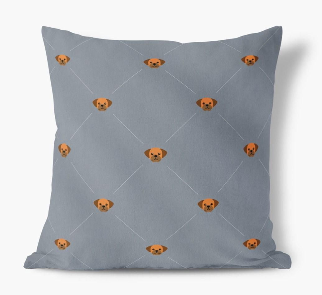 Puggle {colour} Icon Pattern Faux Suede Cushion front view