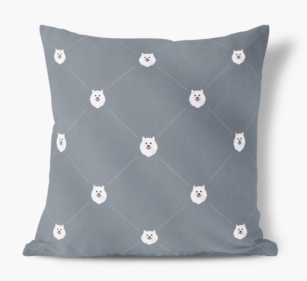 Samoyed {colour} Icon Pattern Faux Suede Cushion front view