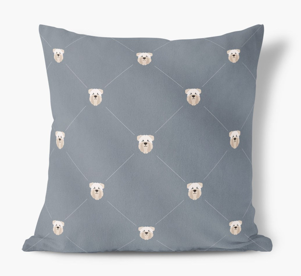 Soft Coated Wheaten Terrier {colour} Icon Pattern Faux Suede Cushion front view