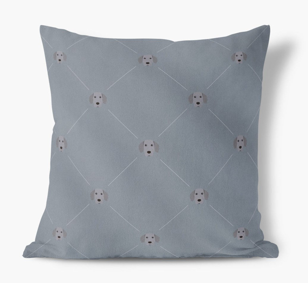 Weimaraner {colour} Icon Pattern Faux Suede Cushion front view