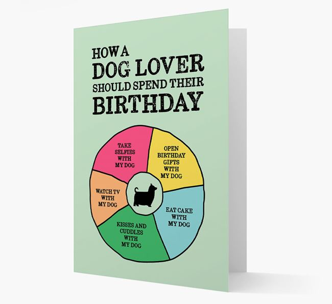 Card 'How a dog lover should spend their birthday' with Silky Terrier Silhouette