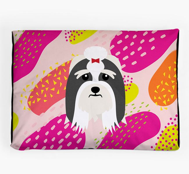 Personalised 'Abstract Design' Dog Bed for your Lhasa Apso