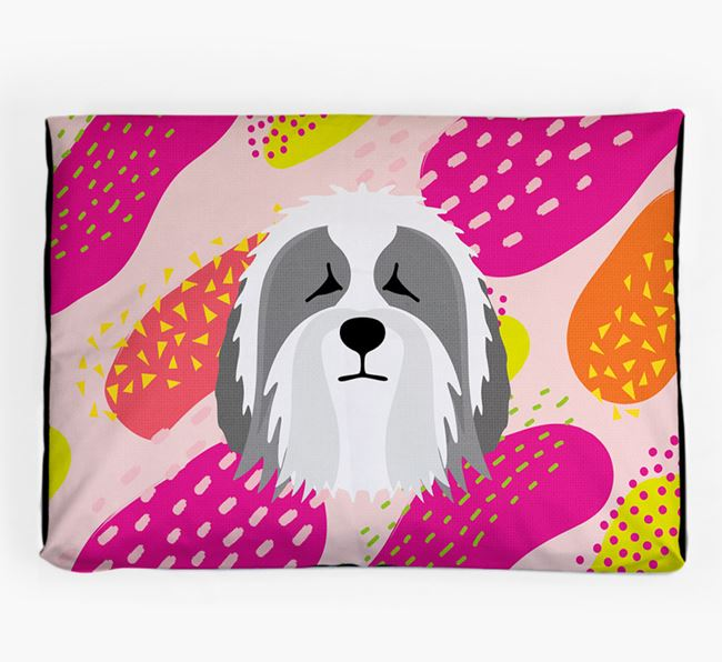 Personalised 'Abstract Design' Dog Bed for your Polish Lowland Sheepdog